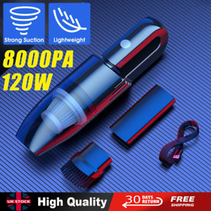 8000PA Car Vacuum Cleaner Mini Handheld Portable Rechargeable Home Auto Wet&Dry