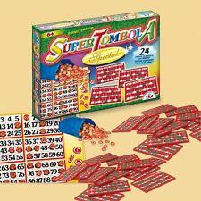 SUPER TOMBOLA special gioco di società da tavolo 24 cartelle e numeri in legno