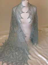 LAMBSWOOL/ANGORA BLEND HANDKNITTED COBWEB LACE SHAWL/SCARF Duck Egg Green