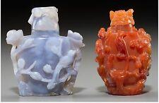 Two estate Chinese blue agate and carnelian snuff bottle,19th/20th Century.