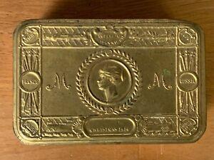 PRINCESS MARY TIN & ORIGINAL MONOGRAMMED 1914 CONTENTS & 1915 NEW YEAR CARD