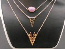 $14 BP Brand 3 pc Necklace LOT Lavender Glass Bead Goldtone Arrow Charm Pendant