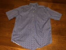 Towncraft Button Down Shirt Mens Navy Blue/White/Gray Geometric Size Medium