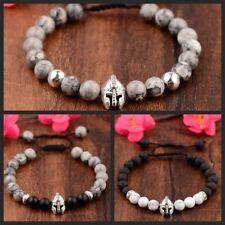 8mm Natural Stone Lava Rock Adjustable Bracelets Helmet Braided Bracelets Gift