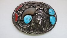"""Sterling Silver Navajo M. Thomas Jr. Buckle with new 1 1/2"""" belt"""