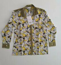 Inoa Yellow/White Floral Limoncello Silk Button Up Shirt Size 1 (12) Long Sleeve