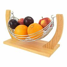 Beautiful Decorative Chrome Wire Fruit Basket Hammock Bowl Stand W/ Wooden Base
