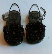 Baby Girl Toddler Size 3/4 Black Pink Polka Dot Flower Dress Jelly Sandals Shoes