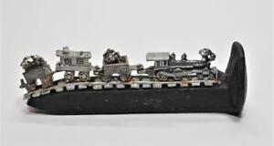 "Authentic Railroad Spike w Pewter 3 WAGONS TRAIN 4 1/4""long Miniature Figurine"