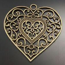 6X Vintage Style Bronze Tone Fashion Heart Pendant Charms 58*56mm