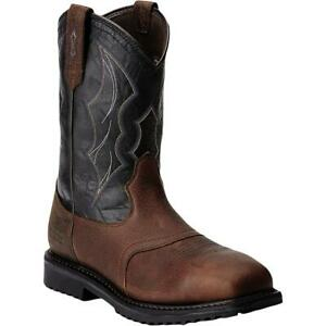 Ariat Mens Rig Tek  Brown Leather Work Boots Shoes 12 Extra Wide (EE) BHFO 9387