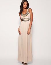 Warehouse Nude Embellished Grecian Summer Party Cruise Maxi Dress Size 8 BNWT