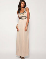 Warehouse Nude Embellished Grecian Summer Beach Party Cruise Maxi Dress Size 14