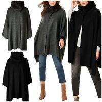 Fa M ou S Store Women's Faux Fur Collar Knitted Wrap Poncho RRP £45