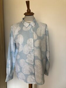 PURE Collection paisley pattern  light blue 100% linen shirt size 14