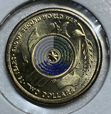 2020 $2 -75th ANNIVERSARY END WWII COLOURED UNCIRCULATED COIN FROM COIN ROLL