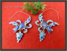 dot blue butterfly earring 1pair Retro palace handmade filigree miao silver