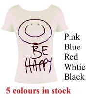 Women Ladies Short Sleeve Be Happy Print T Shirt Ladies Casual Top Tee Size 8-14