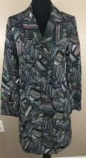 Duro Olowu Coat Black Abstract Multi Color Extra Small XS Trench Coat Jacket