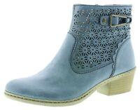 Rieker Stiefeletten Sommer Boots Damenschuhe blau 75586-14 36-42 Neu1