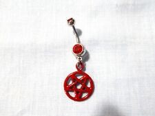 Charm 14G Red Cz Belly Ring Barbell New Blood Red Evil Occult Inverted Pentagram