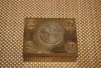 Antique Chinese Brass Metal Lidded Trinket Box Wood Interior Symbols Present