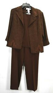 Sag Harbor Womens Jacobean Long Sleeve Blazer Sleeveless Top Pant 3 Piece Set 10