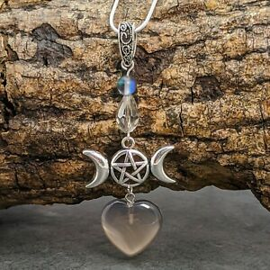 Handmade Silver Tone Wicca Triple Moon Heart Pendant Grey Agate Heart Necklace