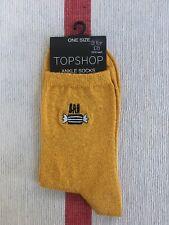 TOPSHOP Bah Humbug Gold Metallic Santa Father Christmas Ankle Socks