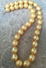 huge 9-10mm baroque south sea gold pearl necklace 18inch 14k