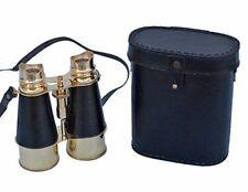 Nautical Brass Marine Vintage Binocular With Black Leather Case