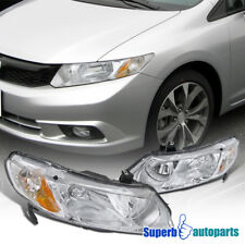For 2006-2011 Honda Civic 4Dr Sedan Replacemwnt Chrome Headlight w/ Amber Corner