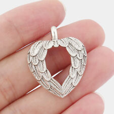 5 x Tibetan Silver Tone Feather Heart Shaped Charms Pendants Beads 32x26mm