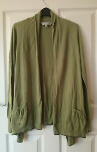 Fat Face Drape Cardigan Size 12 Green 'Loden' Cotton