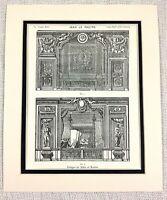 1903 Antico Stampa Francese Louis XIV Boudoir Camera Interno Design 17th Secolo