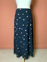 White Stuff Teal Green/Blue Spot Maxi Skirt UK10 Casual