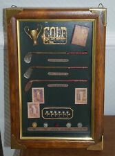 Golf Schlüsselkasten Antik Art Holz / Messing