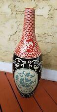 Red And Black Glazed Pottery Vase