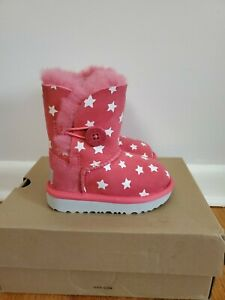 Ugg Toddler Girls Bailey Button Starlight Boots Size US 6 PINK