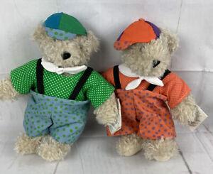 Vtg. Vermont Teddy Bear Co Tweedle Dumm And Tweedle Dee Bears Polka Dot Overalls