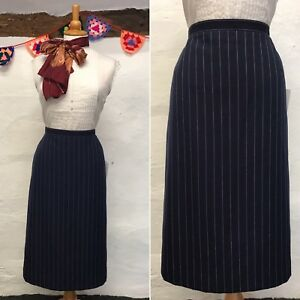TRUE VINTAGE PENCIL SKIRT NAVY BLUE PIN-STRIPE 70s does 50s SIZE 10 W27.5 (sk12)