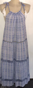 M&S Cotton Floaty Strappy Midi Beach Dress Summer Broderie Size 14 18