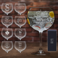 Personalised Gin Glass Laser Engraved Glass Gift Birthday any Occasion Glassware
