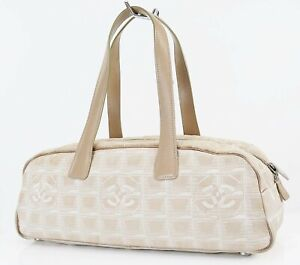 Authentic CHANEL New Travel Line Mini Beige Tote Hand Bag Purse #38457A