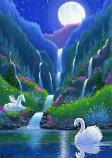 Swan Pegasus foal waterfall lake moon fantasy limited edition aceo print art