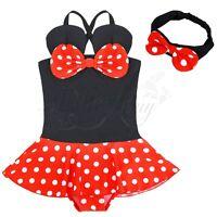 Baby Girls Minnie Mouse Summer Swimsuit Swimwear Bathing Suit Headband Costume