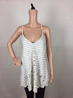 Free People New Women Sefaring Striped Embroidered C Ivory TANK TOP S NATURAL $