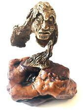 "Western Artist P.K. Berry Cast Bronze Native in ""Wolfskin Headdress"" No. 5/10"
