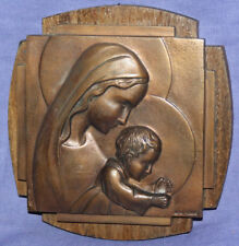 Vintage religious bronze/wood wall hanging plaque Virgin Mary and baby Jesus