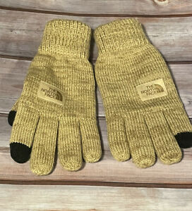 The North Face Mens Tan Etip Salty Dog Knit Tech Gloves Suede Trim S/M